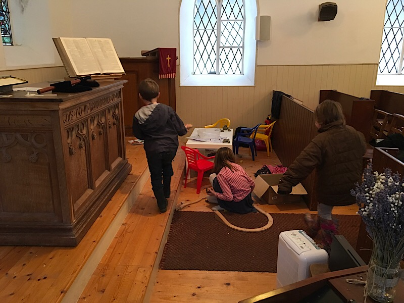 Children playing in church