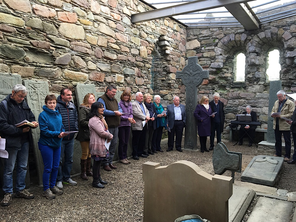 Worshippers inside Kilmory Chapel