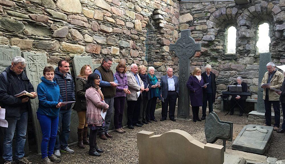 Worshippers inside Kilmory Chapel